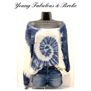 YFB oversized off shoulder tie-dye sheer top
